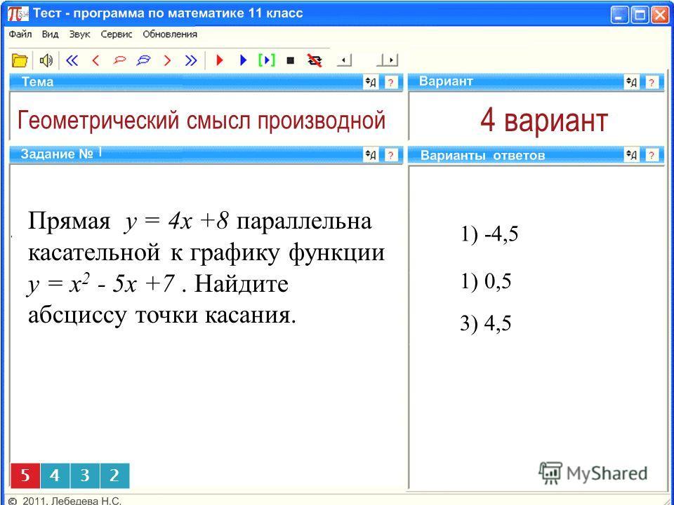 Геометрический смысл производной 4 вариант Прямая y = 4x +8 параллельна касательной к графику функции y = x 2 - 5x +7. Найдите абсциссу точки касания. 1) -4,5 1 3) 4,5 5432 1) 0,5
