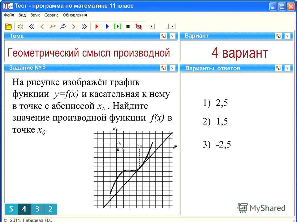 Геометрический смысл производной 4 вариант На рисунке изображён график функции y=f(x) и касательная к нему в точке с абсциссой x 0. Найдите значение производной функции f(x) в точке x 0 1) 2,5 3 2) 1,5 5432 5432 3) -2,5