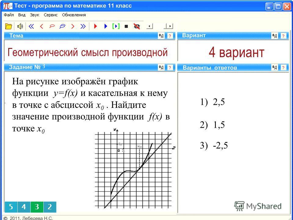 Геометрический смысл производной 4 вариант На рисунке изображён график функции y=f(x) и касательная к нему в точке с абсциссой x 0. Найдите значение производной функции f(x) в точке x 0 1) 2,5 3 2) 1,5 5432 3) -2,5