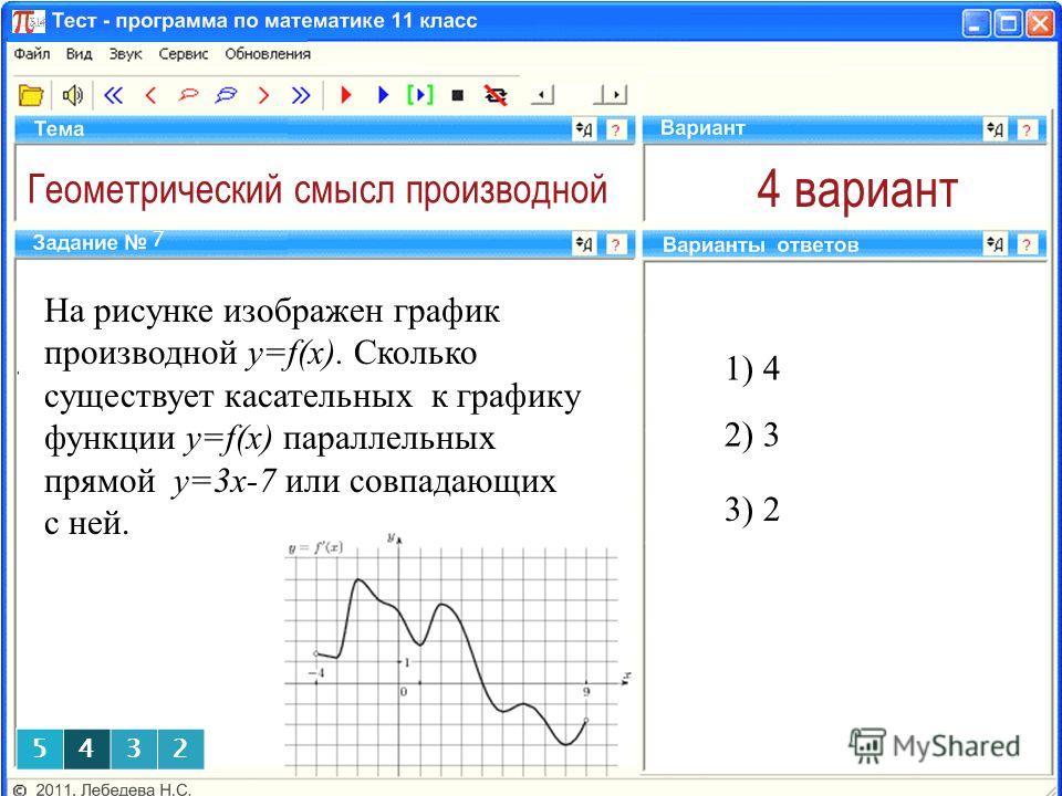 Геометрический смысл производной 4 вариант На рисунке изображен график производной y=f(x). Сколько существует касательных к графику функции y=f(x) параллельных прямой у=3х-7 или совпадающих с ней. 1) 4 7 2) 3 3) 2 5432