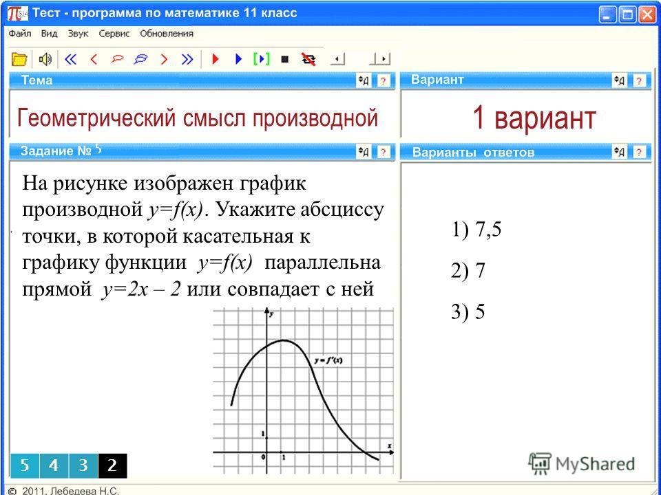 Геометрический смысл производной 1 вариант На рисунке изображен график производной y=f(x). Укажите абсциссу точки, в которой касательная к графику функции y=f(x) параллельна прямой у=2х – 2 или совпадает с ней 1) 7,5 5 2) 7 3) 5 5432