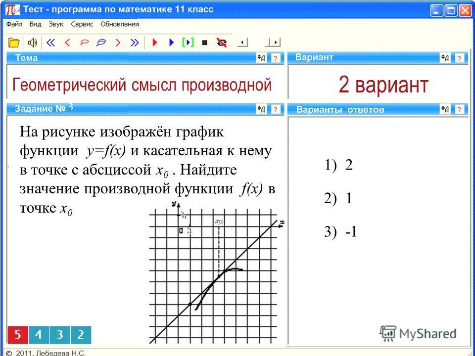 Геометрический смысл производной 2 вариант На рисунке изображён график функции y=f(x) и касательная к нему в точке с абсциссой x 0. Найдите значение производной функции f(x) в точке x 0 1) 2 3 2) 1 5432 3)