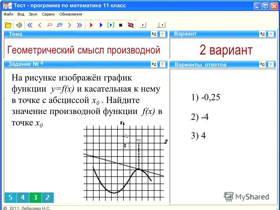 Геометрический смысл производной 2 вариант 1) -0,25 4 2) -4 На рисунке изображён график функции y=f(x) и касательная к нему в точке с абсциссой x 0. Найдите значение производной функции f(x) в точке x 0 3) 4 5432