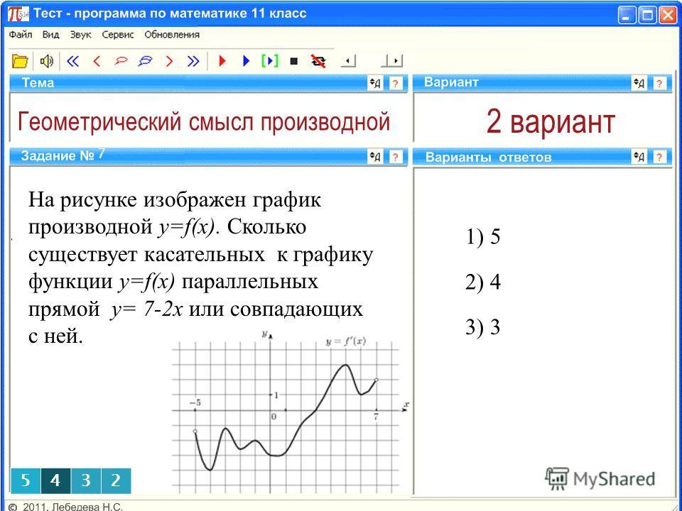 Геометрический смысл производной 2 вариант На рисунке изображен график производной y=f(x). Сколько существует касательных к графику функции y=f(x) параллельных прямой у= 7-2х или совпадающих с ней. 1) 5 7 2) 4 3) 3 5432