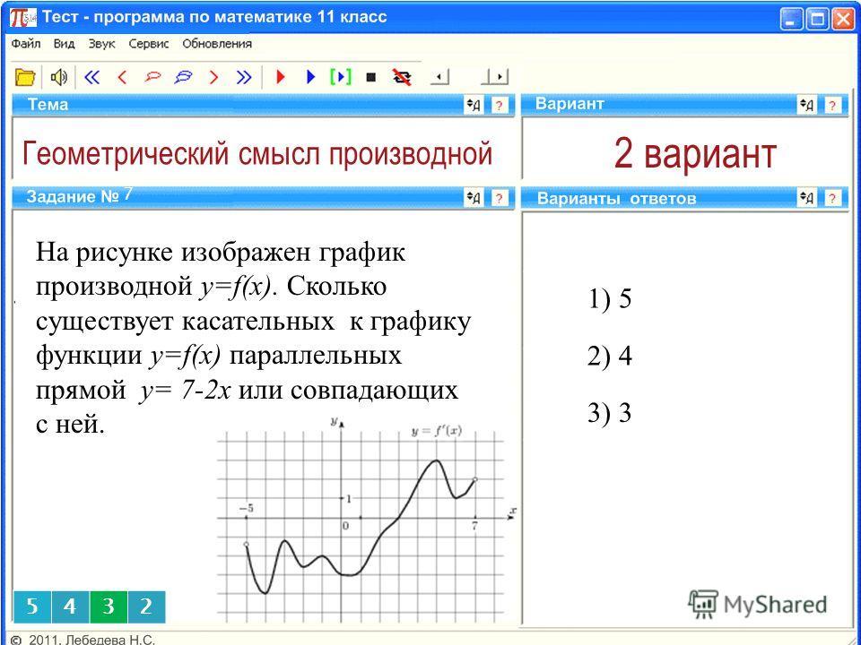 Геометрический смысл производной 2 вариант На рисунке изображен график производной y=f(x). Сколько существует касательных к графику функции y=f(x) параллельных прямой у= 7-2x или совпадающих с ней. 1) 5 7 2) 4 3) 3 5432