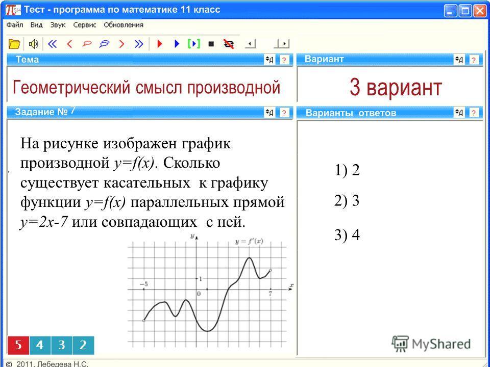 Геометрический смысл производной 3 вариант На рисунке изображен график производной y=f(x). Сколько существует касательных к графику функции y=f(x) параллельных прямой у=2х-7 или совпадающих с ней. 1) 2 7 2) 3 5432 ) 4