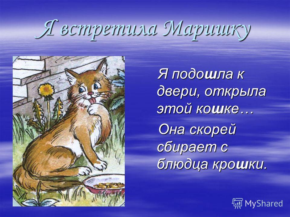 Я встретила Маришку Я подошла к двери, открыла этой кошке… Я подошла к двери, открыла этой кошке… Она скорей сбирает с блюдца крошки. Она скорей сбирает с блюдца крошки.