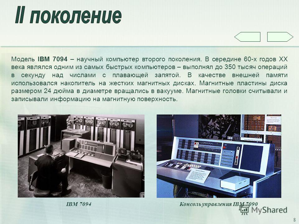 8 Модель IBM 7094 – научный компьютер второго поколения. В середине 60-х годов XX века являлся одним из самых быстрых компьютеров – выполнял до 350 тысяч операций в секунду над числами с плавающей запятой. В качестве внешней памяти использовался нако