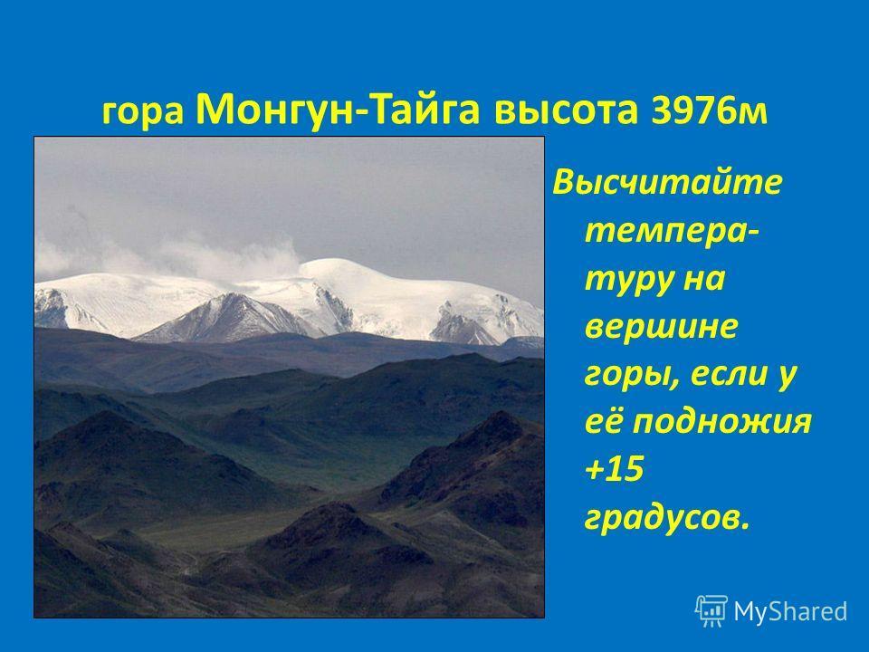 гора Монгун-Тайга высота 3976м Высчитайте темпера- туру на вершине горы, если у её подножия +15 градусов.