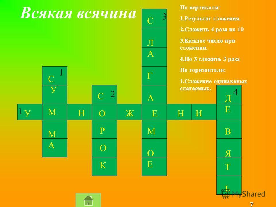 7 С У М А СЛАГАМОЕСЛАГАМОЕ ДЕВЯДЕВЯ ТЬТЬ С ОУ Н ЖН И Е Р О К Всякая всячина 1 2 3 4 1 По вертикали: 1.Результат сложения. 2.Сложить 4 раза по 10 3.Каждое число при сложении. 4.По 3 сложить 3 раза По горизонтали: 1.Сложение одинаковых слагаемых.