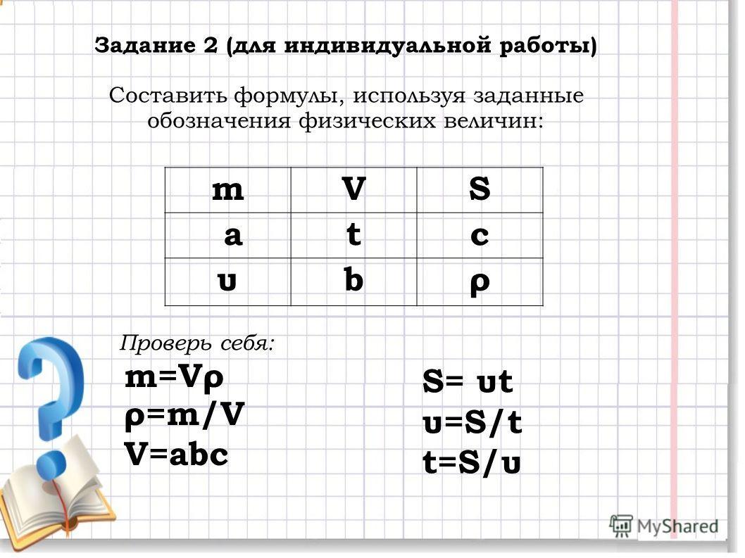 Задание 2 (для индивидуальной работы) Составить формулы, используя заданные обозначения физических величин: mVS atc υbρ m=Vρ ρ=m/V V=abc S= υt υ=S/t t=S/υt=S/υ Проверь себя: