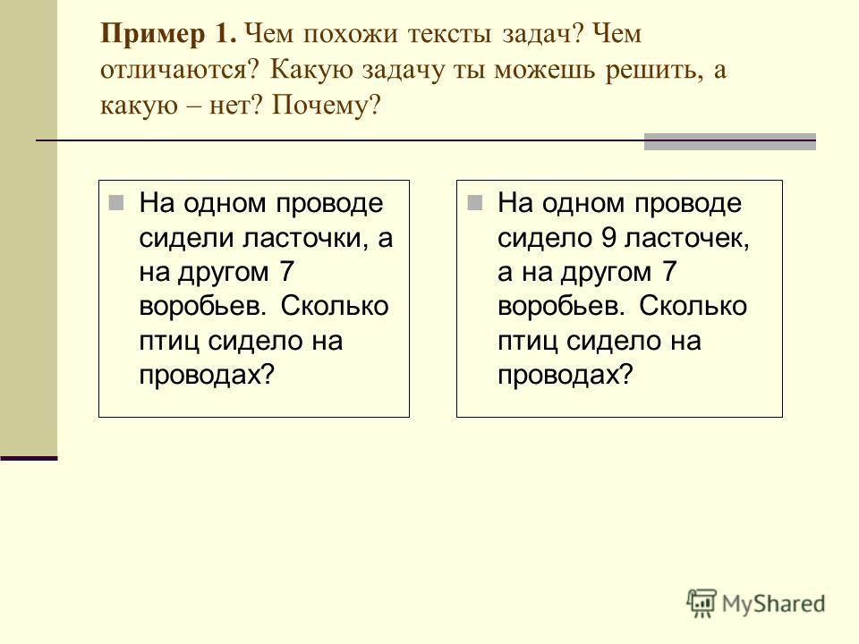 Пример 1. Чем похожи тексты задач? Чем отличаются? Какую задачу ты можешь решить, а какую – нет? Почему? На одном проводе сидели ласточки, а на другом 7 воробьев. Сколько птиц сидело на проводах? На одном проводе сидело 9 ласточек, а на другом 7 воро