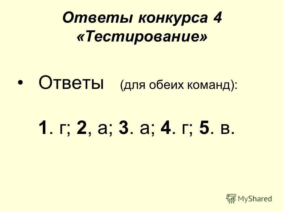 Ответы конкурса 4 «Тестирование» Ответы (для обеих команд): 1. г; 2, а; 3. а; 4. г; 5. в.