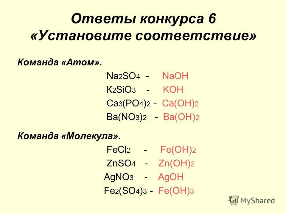 Ответы конкурса 6 «Установите соответствие» Команда «Атом». Nа 2 SO 4 - NaOH К 2 SiO 3 - KOH Ca 3 (PO 4 ) 2 - Ca(OH) 2 Ва(NO 3 ) 2 - Ba(OH) 2 Команда «Молекула». FеСl 2 - Fe(OH) 2 ZnSO 4 - Zn(OH) 2 АgNО 3 - AgOH Fe 2 (SO 4 ) 3 - Fe(OH) 3