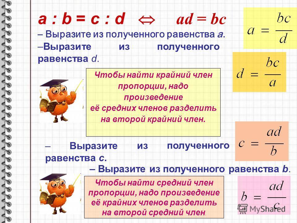 a : b = c : d ad = bc – Выразите из полученного равенства а. –Выразите из полученного равенства d. Чтобы найти крайний член пропорции, надо произведение её средних членов разделить на второй крайний член. – Выразите из полученного равенства b. – Выра