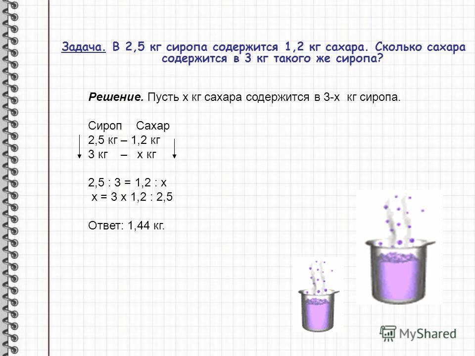 Задача. В 2,5 кг сиропа содержится 1,2 кг сахара. Сколько сахара содержится в 3 кг такого же сиропа? Решение. Пусть х кг сахара содержится в 3-х кг сиропа. Сироп Сахар 2,5 кг – 1,2 кг 3 кг – х кг 2,5 : 3 = 1,2 : х х = 3 х 1,2 : 2,5 Ответ: 1,44 кг.