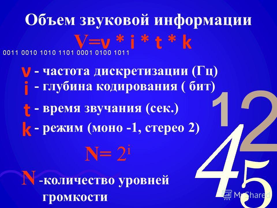 Объем звуковой информации V= ν * i * t * k ν i t k - частота дискретизации (Гц) - глубина кодирования ( бит) - время звучания (сек.) - режим (моно -1, стерео 2) N= 2 i N -количество уровней громкости