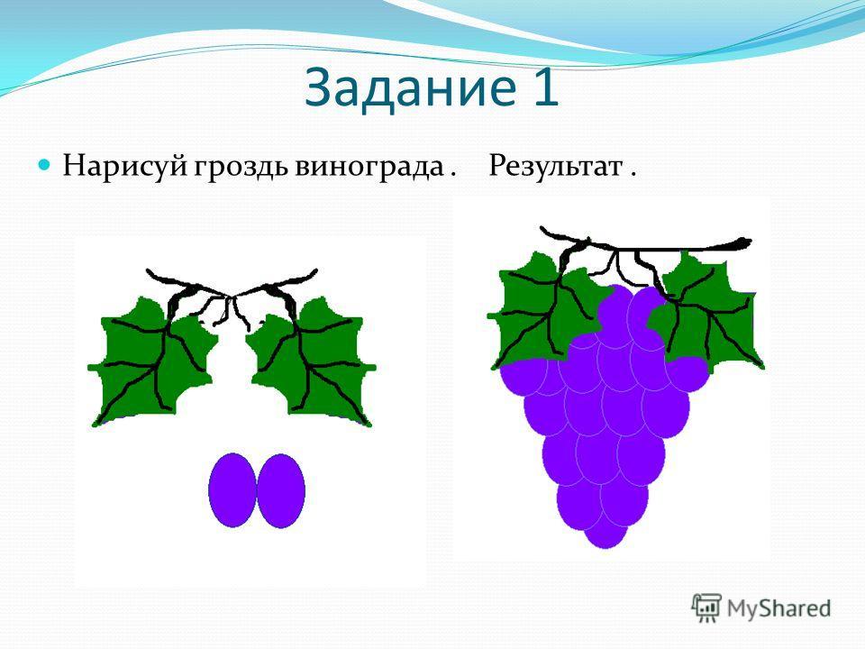 Задание 1 Нарисуй гроздь винограда. Результат.