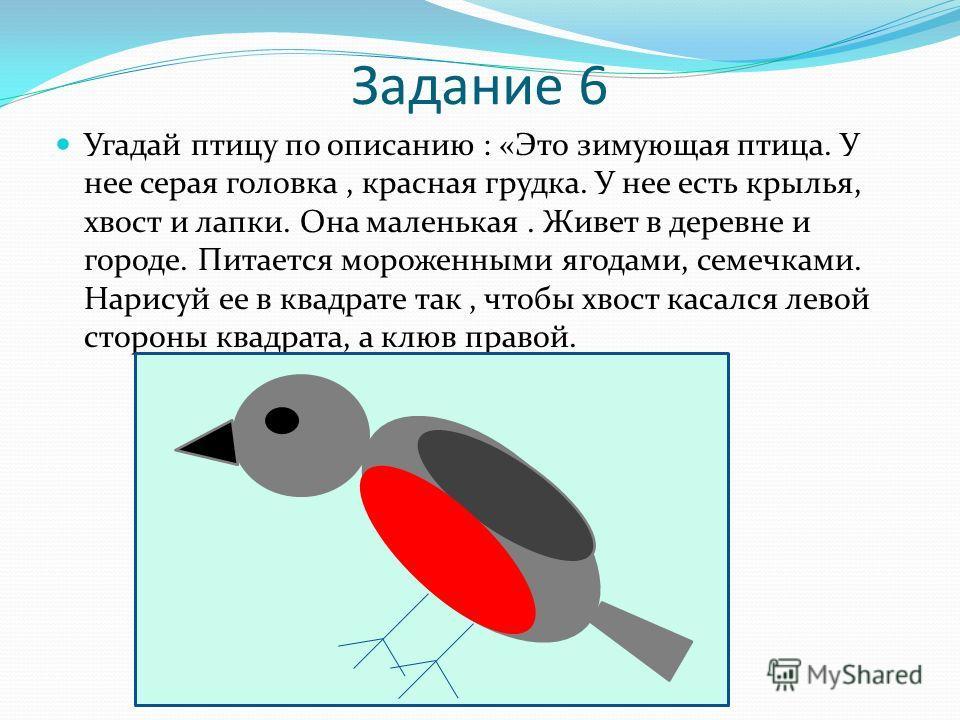 Задание 6 Угадай птицу по описанию : «Это зимующая птица. У нее серая головка, красная грудка. У нее есть крылья, хвост и лапки. Она маленькая. Живет в деревне и городе. Питается мороженными ягодами, семечками. Нарисуй ее в квадрате так, чтобы хвост