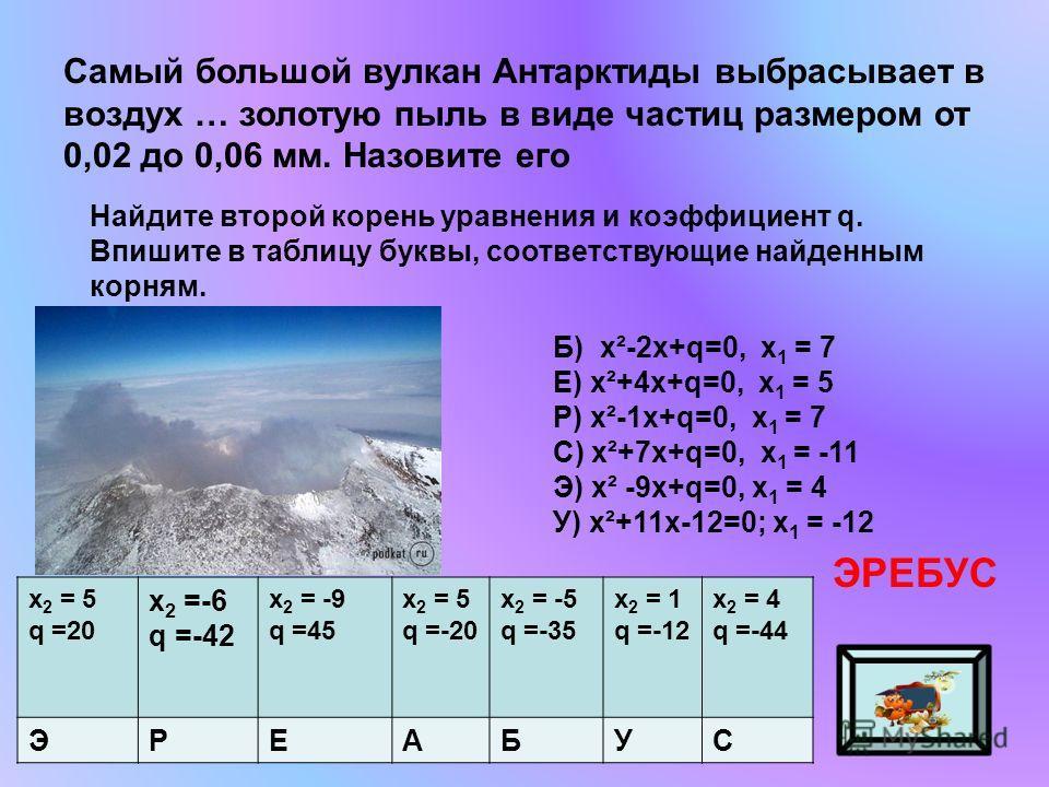 Самый большой вулкан Антарктиды выбрасывает в воздух … золотую пыль в виде частиц размером от 0,02 до 0,06 мм. Назовите его ЭРЕБУС Найдите второй корень уравнения и коэффициент q. Впишите в таблицу буквы, соответствующие найденным корням. х 2 = 5 q =