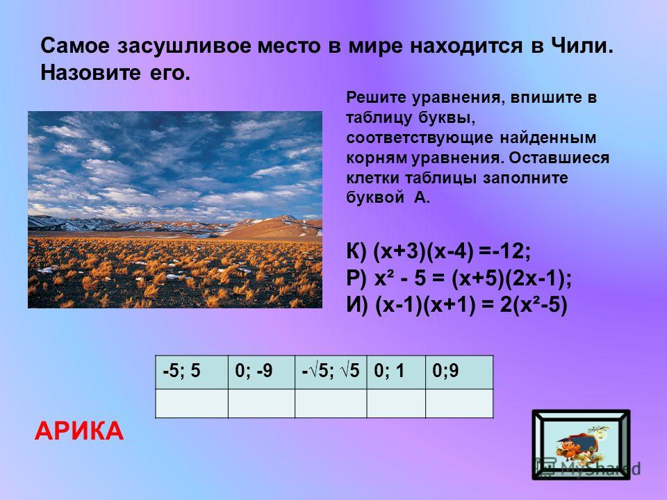 Самое засушливое место в мире находится в Чили. Назовите его. АРИКА Решите уравнения, впишите в таблицу буквы, соответствующие найденным корням уравнения. Оставшиеся клетки таблицы заполните буквой А. К) (х+3)(х-4) =-12; Р) х² - 5 = (х+5)(2х-1); И) (
