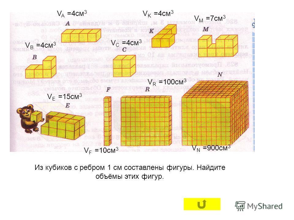 Из кубиков с ребром 1 см составлены фигуры. Найдите объёмы этих фигур. V A =4см 3 V K =4см 3 V B =4см 3 V C =4см 3 V M =7см 3 V E =15см 3 V R =100см 3 V F =10см 3 V N =900см 3