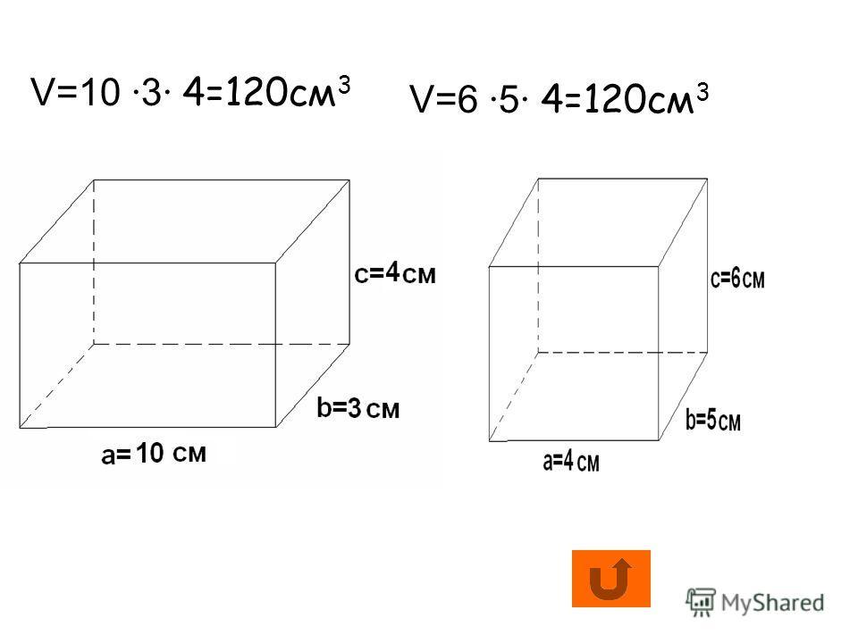 V=10 ·3· 4=120см 3 V=6 ·5· 4=120см 3