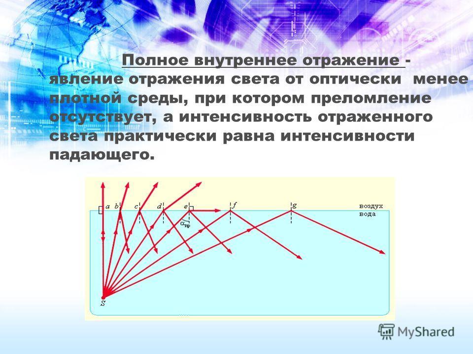 Полное внутреннее отражение - явление отражения света от оптически менее плотной среды, при котором преломление отсутствует, а интенсивность отраженного света практически равна интенсивности падающего.