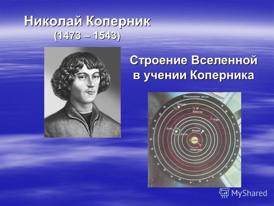 Николай Коперник (1473 – 1543) Строение Вселенной в учении Коперника