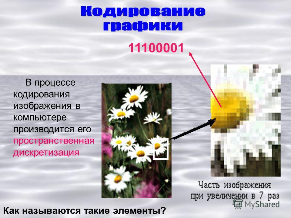 В процессе кодирования изображения в компьютере производится его пространственная дискретизация 11100001 Как называются такие элементы?
