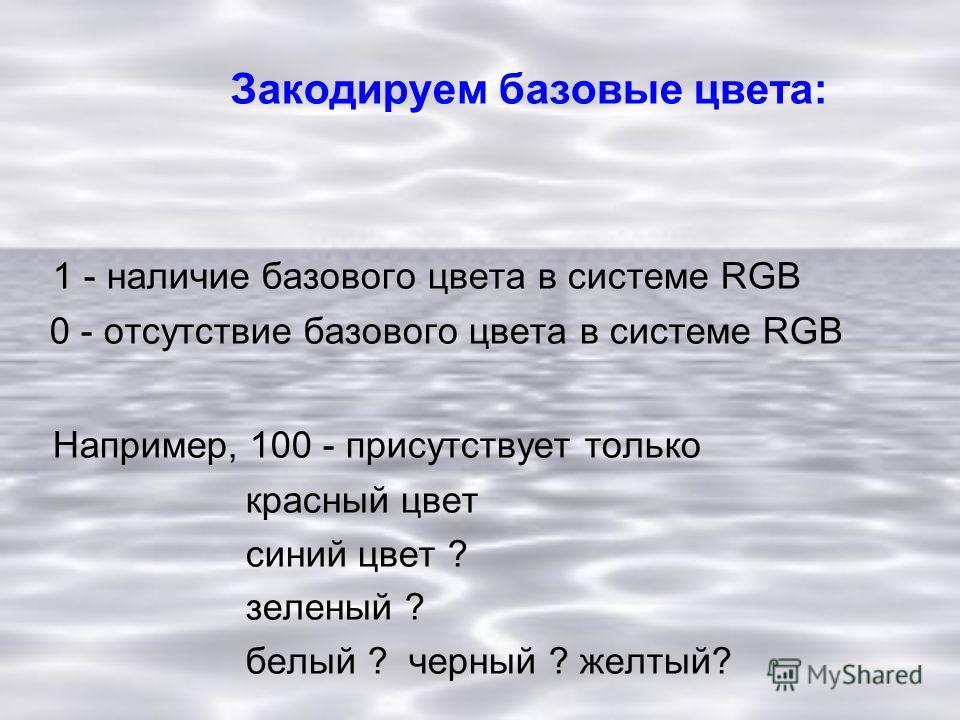 Закодируем базовые цвета: 1 - наличие базового цвета в системе RGB 0 - отсутствие базового цвета в системе RGB Например, 100 - присутствует только красный цвет синий цвет ? зеленый ? белый ? черный ? желтый?