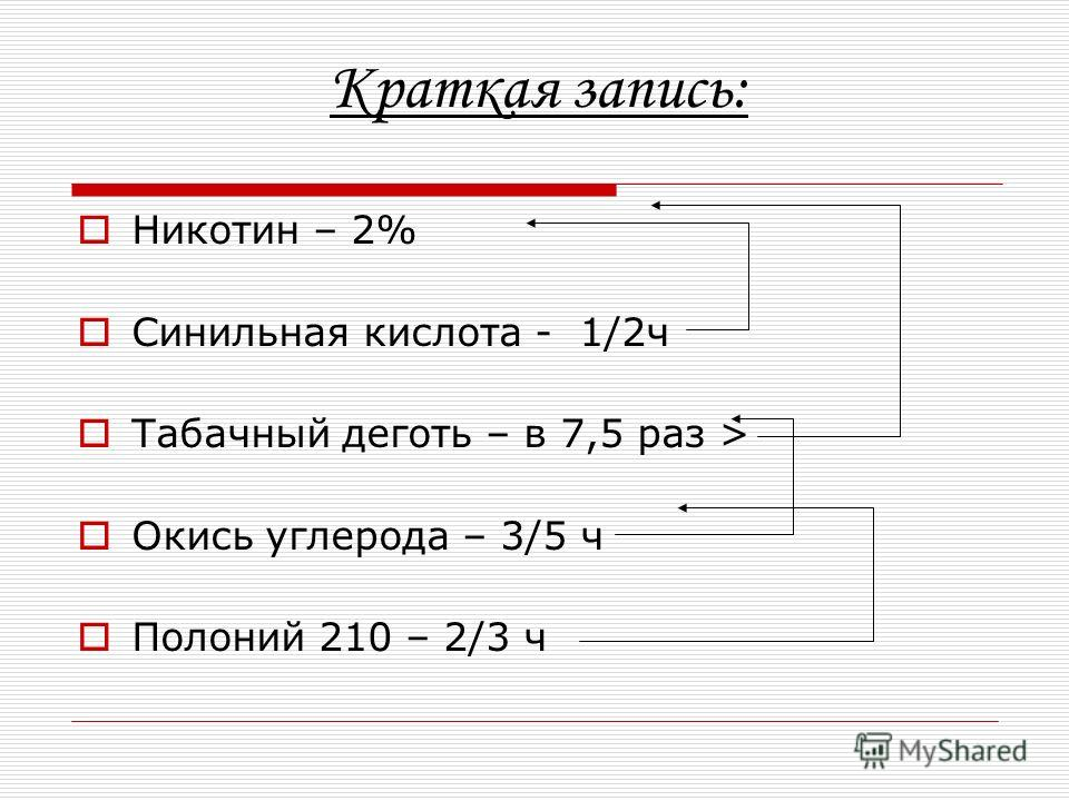 Краткая запись: Никотин – 2% Синильная кислота - 1/2ч Табачный деготь – в 7,5 раз > Окись углерода – 3/5 ч Полоний 210 – 2/3 ч