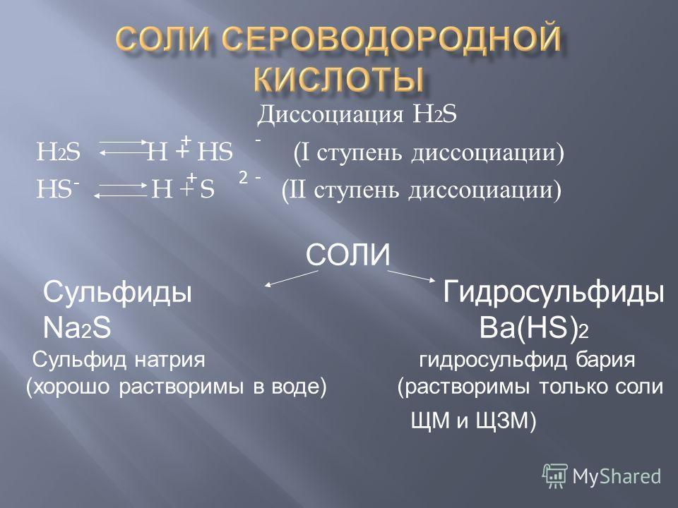 Диссоциация H 2 S H 2 S H + HS (I ступень диссоциации ) HS H + S (II ступень диссоциации ) СОЛИ Сульфиды Гидросульфиды Na 2 S Ba(HS) 2 Сульфид натрия гидросульфид бария (хорошо растворимы в воде) (растворимы только соли ЩМ и ЩЗМ) - -2 + + -