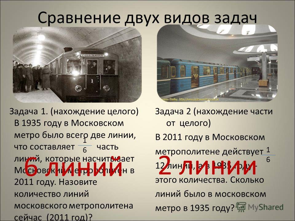 Сравнение двух видов задач Задача 1. (нахождение целого) В 1935 году в Московском метро было всего две линии, что составляет часть линий, которые насчитывает Московский метрополитен в 2011 году. Назовите количество линий московского метрополитена сей