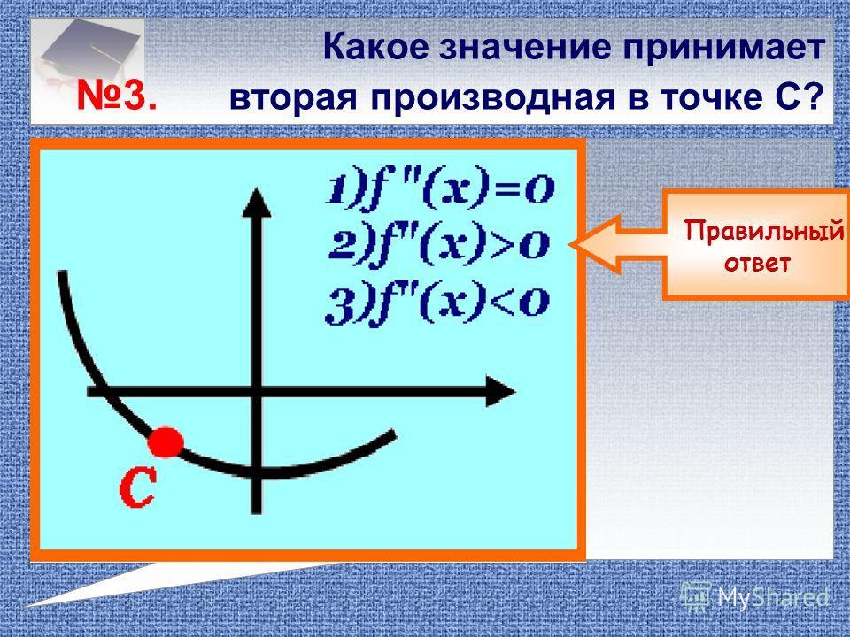 Какое значение принимает 2. первая производная в точке В? Правильный ответ