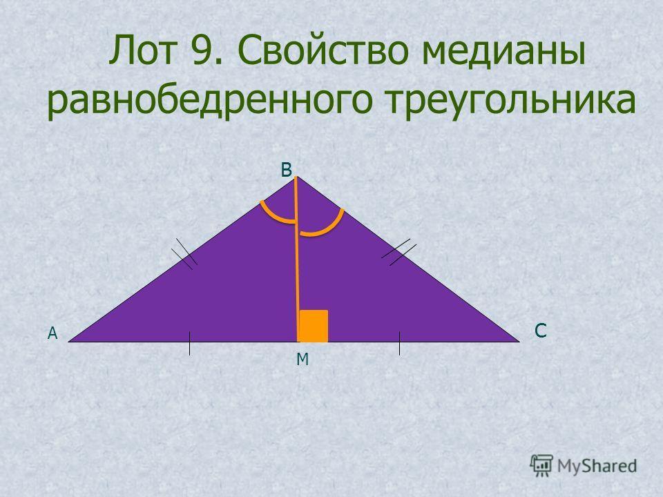 Лот 9. Свойство медианы равнобедренного треугольника А В С М