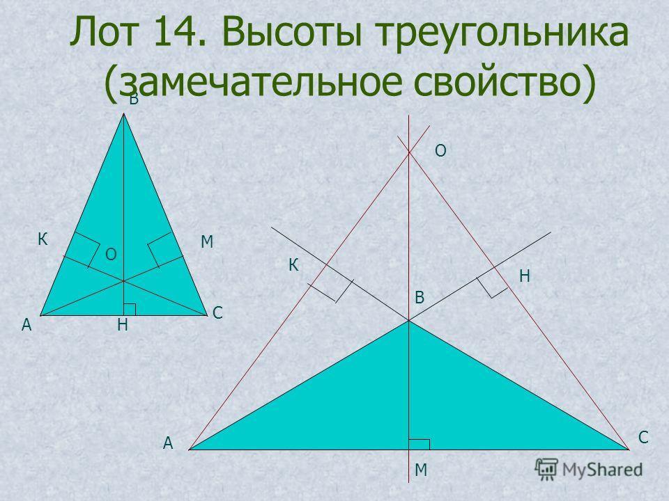 О А В С Н М К О А В С Н М К Лот 14. Высоты треугольника (замечательное свойство)