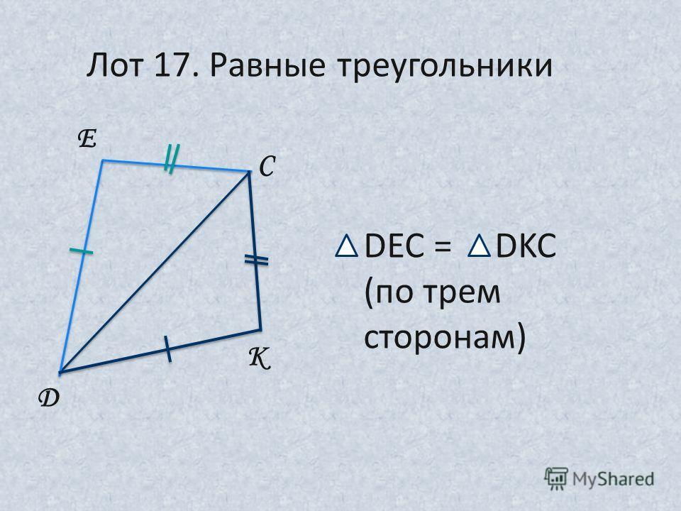 D E C K Лот 17. Равные треугольники DEC = DKC (по трем сторонам)