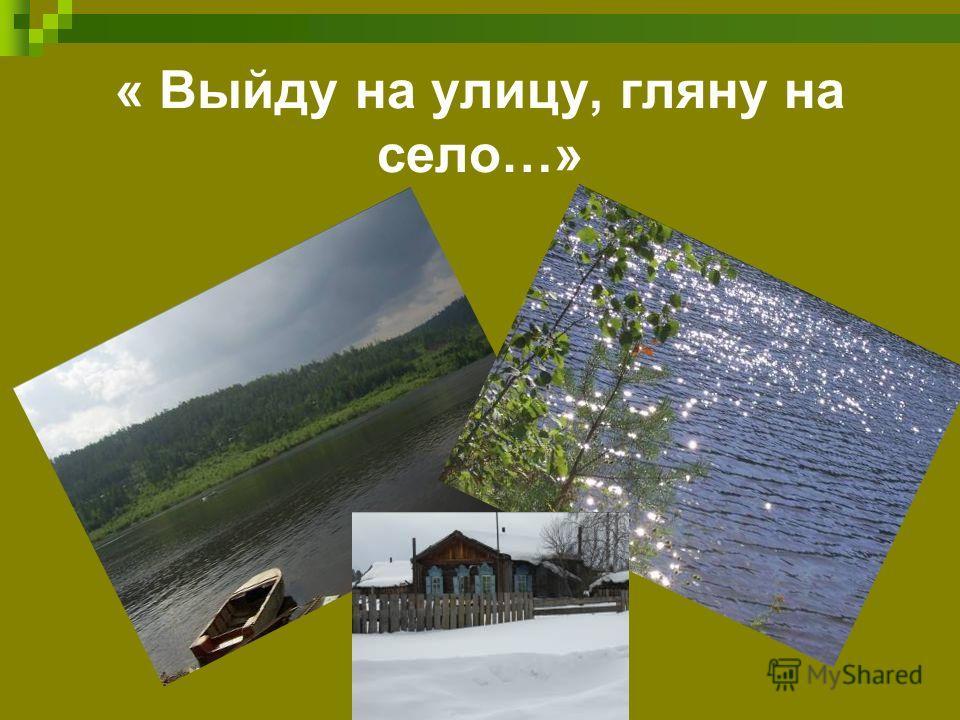 « Выйду на улицу, гляну на село…»