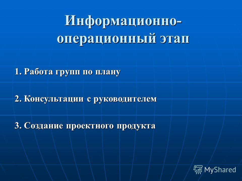 Информационно- операционный этап 1. Работа групп по плану 2. Консультации с руководителем 3. Создание проектного продукта