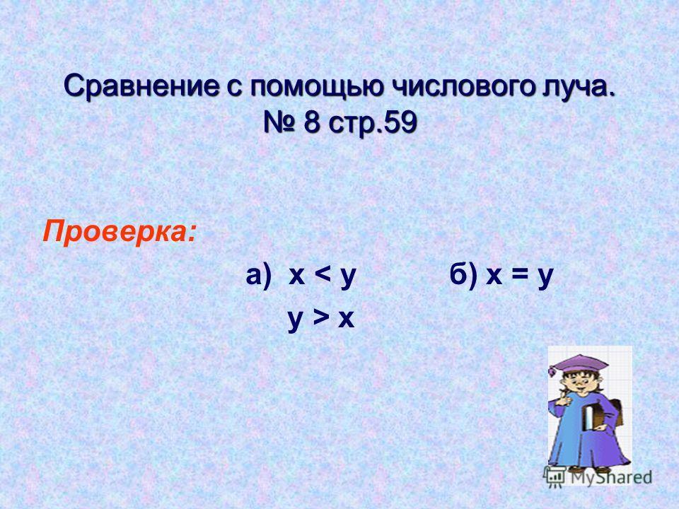 Сравнение с помощью числового луча. 8 стр.59 Проверка: а) x < yб) х = у у > х