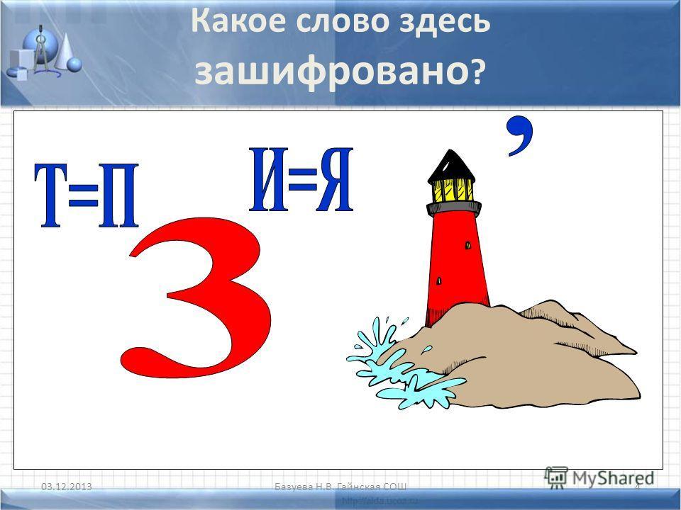 Базуева Н.В. Гайнская СОШ4 Какое слово здесь зашифровано ?