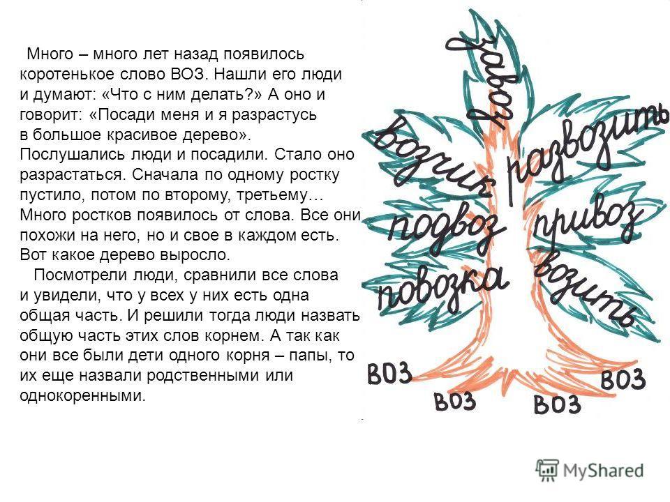 Много – много лет назад появилось коротенькое слово ВОЗ. Нашли его люди и думают: «Что с ним делать?» А оно и говорит: «Посади меня и я разрастусь в большое красивое дерево». Послушались люди и посадили. Стало оно разрастаться. Сначала по одному рост