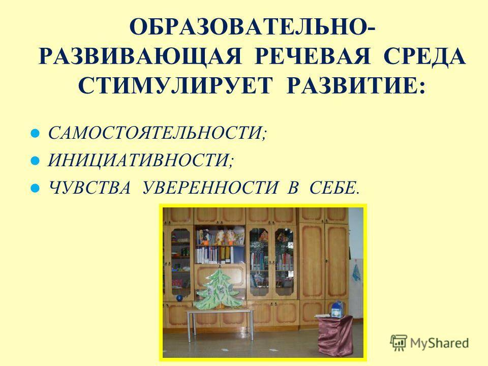ЗАДАЧИ СОЗДАНИЯ РЕЧЕВОЙ СРЕДЫ ОБЕСПЕЧИТЬ ПСИХОЛОГИЧЕСКУЮ ЗАЩИЩЕННОСТЬ РЕБЕНКА; РАЗВИТИЕ ИНДИВИДУАЛЬНОСТИ; ФОРМИРОВАНИЕ ЗНАНИЙ И УМЕНИЙ; РАЗВИТИЕ КОММУНИКАТИВНЫХ НАВЫКОВ.