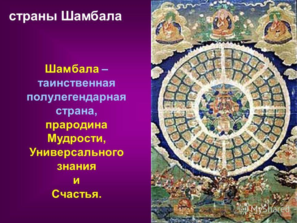 страны Шамбала Шамбала – таинственная полулегендарная страна, прародина Мудрости, Универсального знания и Счастья.
