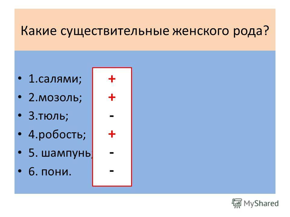 Какие существительные женского рода? 1.салями; 2.мозоль; 3.тюль; 4.робость; 5. шампунь; 6. пони. ++-+--++-+--