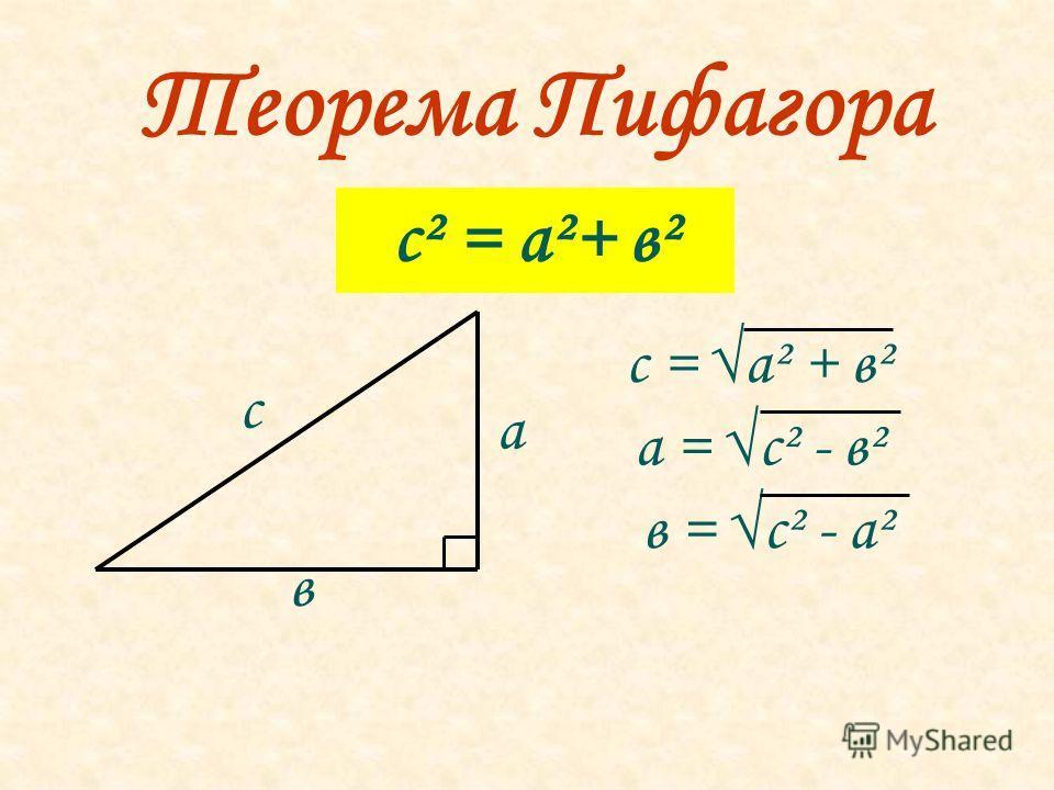 Теорема Пифагора с² = а²+ в² с = а² + в² а = с² - в² в = с² - а² с а в