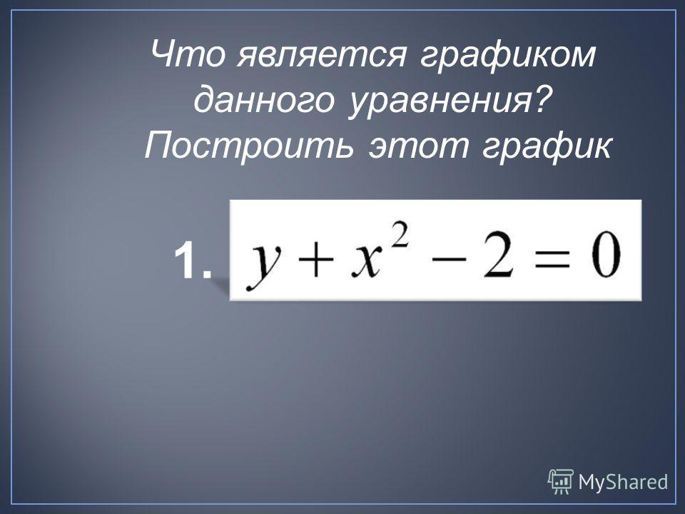 1. Что является графиком данного уравнения? Построить этот график