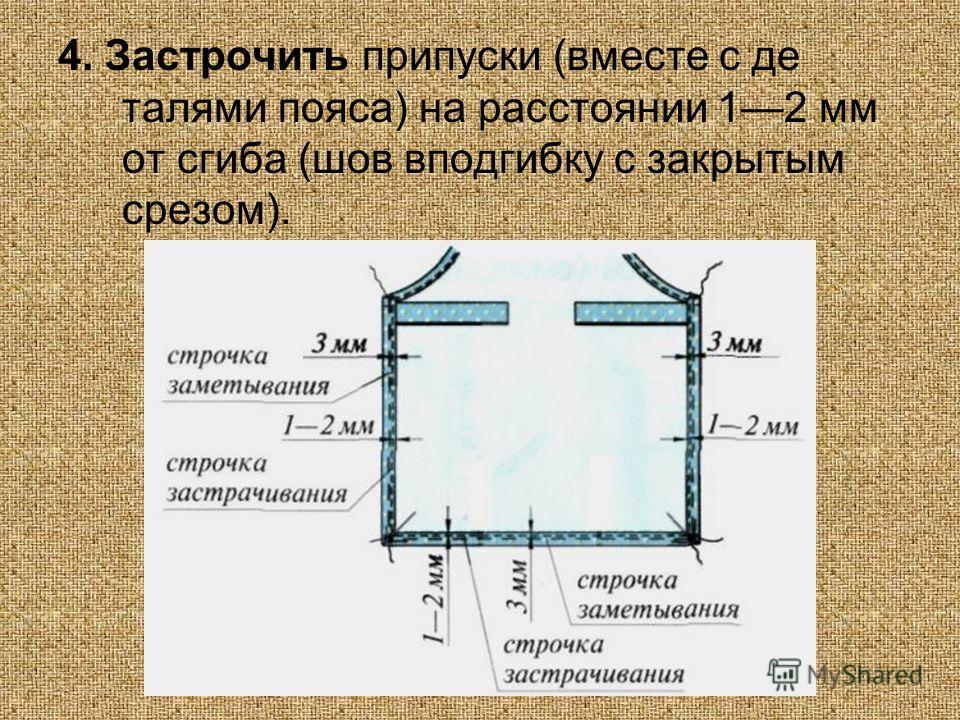 4. Застрочить припуски (вместе с де талями пояса) на расстоянии 12 мм от сгиба (шов вподгибку с закрытым срезом).