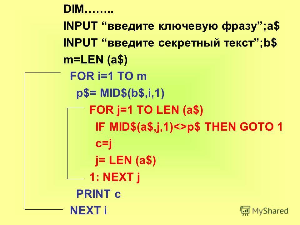 DIM…….. INPUT введите ключевую фразу;a$ INPUT введите секретный текст;b$ m=LEN (a$) FOR i=1 TO m p$= MID$(b$,i,1) FOR j=1 TO LEN (a$) IF MID$(а$,j,1)p$ THEN GOTO 1 c=j j= LEN (a$) 1: NEXT j PRINT c NEXT i